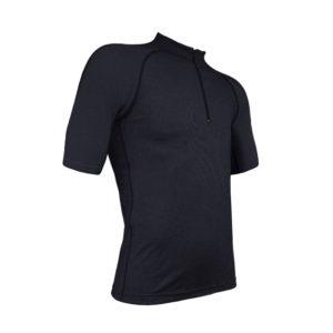 Merino Mid Short Sleeve Zip Neck Black